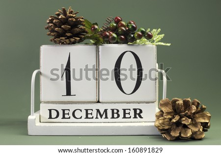 Save the Date calendar with Winter theme colors, fruit and flowers, for birthdays, special occasions, holidays, weddings, website events, or Christmas Advent calendar days, for December 10. - stock photo
