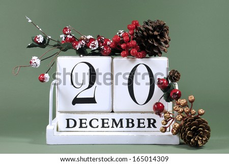 Save the Date calendar with Winter theme colors, fruit and flowers, for birthdays, special occasions, holidays, weddings, website events, or Christmas Advent calendar days, for December 20. - stock photo