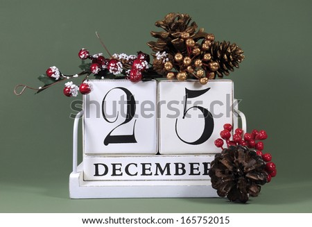Save the Date calendar with winter theme colors, fruit and flowers, for birthdays, special occasions, holidays, weddings, website events, or Christmas Advent calendar days, for December 25. - stock photo
