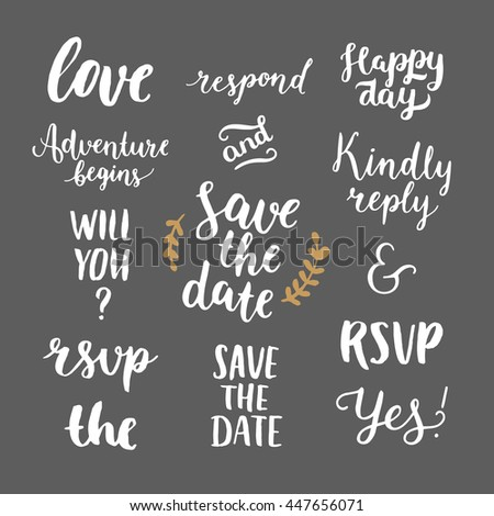 Save the date collection with hand drawn lettering, ampersands and catchwords. Set for design wedding invitations, photo overlays and save the date cards - stock photo