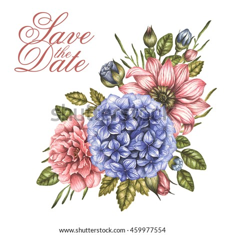 Save date watercolor bouquet peony roses stock illustration save the date watercolor bouquet with peony roses flowers invitation card for wedding or birthday stopboris Choice Image