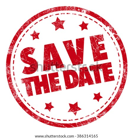 Save the date word red stamp text on white background - stock photo