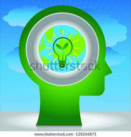 Save The Earth and Ecology Concept Present By Green Head With Light Bulb Icon and Green Leaf in Blue Sky Background - stock photo