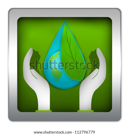 Save The Earth and Save The Water Concept Present By The Earth Cover By Green Leaf Inside The Water Drop Over The Hand On Green Metallic Style Icon Isolated on White Background - stock photo
