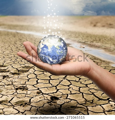 save the earth concept - environment concept - elements of this image furnished by NASA - stock photo