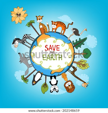 Save The Earth concept with a variety of wild animals surrounding the perimeter of a globe or planet with interspersed fresh green trees for nature conservation   hand-drawn illustration - stock photo