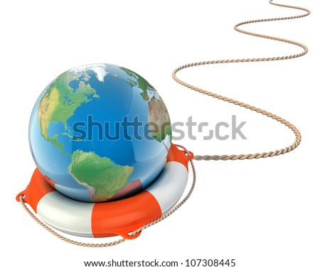 save the earth 3d concept - globe with lifebuoy isolated - stock photo