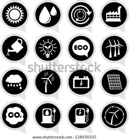 Save The Earth or Ecology Concept Present By Ecology Sign on Black Icon Set Isolated on White Background - stock photo