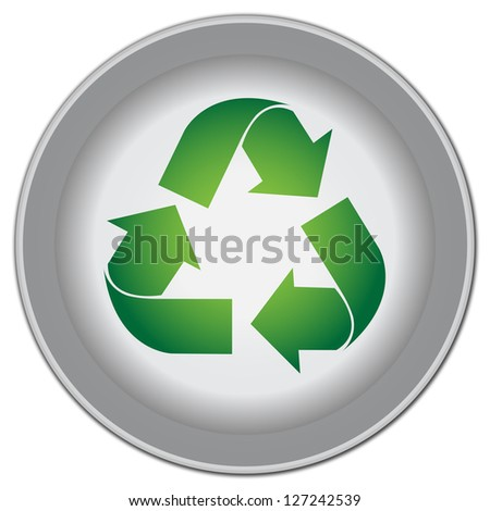 Save The Earth, Stop Global Warming Or Recycle Concept Present By Circle Icon With Green Recycle Sign Isolate on White Background