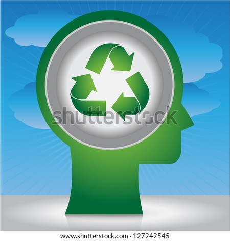 Save The Earth, Stop Global Warming Or Recycle Concept Present By Head With Green Recycle Sign Inside in Blue Sky Background
