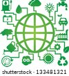 Save The Earth, Stop Global Warming or Recycle Concept Present By The Earth With Group of Ecology or Nature Icon Isolated on White Background - stock vector