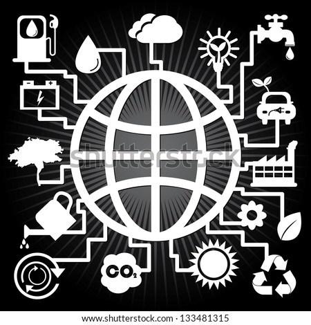 Save The Earth, Stop Global Warming or Recycle Concept Present By The Earth With Group of Ecology or Nature Icon in Black Shiny Background - stock photo
