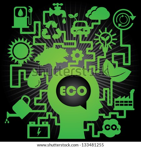 Save The Earth, Stop Global Warming or Recycle Concept Present By The Green Human Head With Group of Ecology or Nature Icon in Black Shiny Background - stock photo