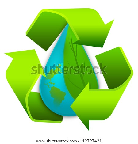 Save The Water and Save The Earth Concept Present By The Green Recycle Sign Around The Water Drop With The Earth and The Green Leaf Inside Isolated on White Background - stock photo