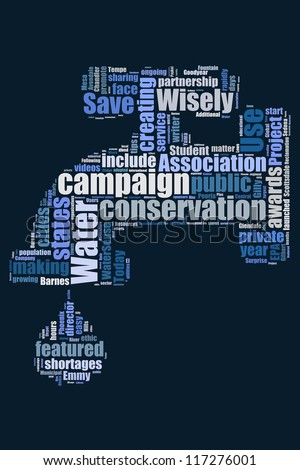 Save the water campaign in word collage - stock photo