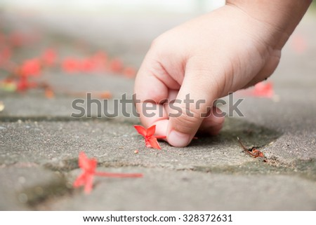 Save the world for our children, a little hand girl try to pick up the red flower that down to the brick floor. Red flowers on the floor. - stock photo