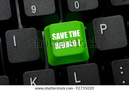 save the world words on green and black keyboard button