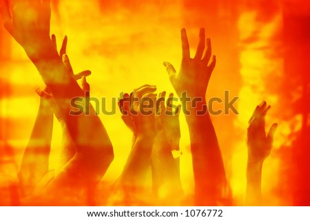 Save us from the fire! Concept for fire victim, help, helplessness, hell, desperation, etc. - stock photo