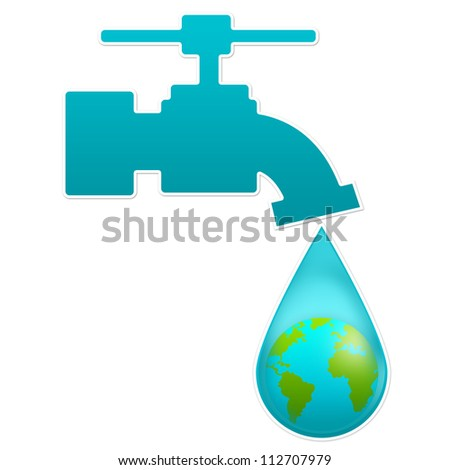 Save Water Concept Present By Blue Faucet and Water Drop With The Earth Inside Isolated on White Background