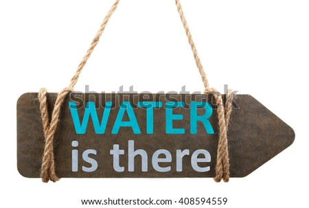 Save water concept. Wooden signboard with text isolated on white