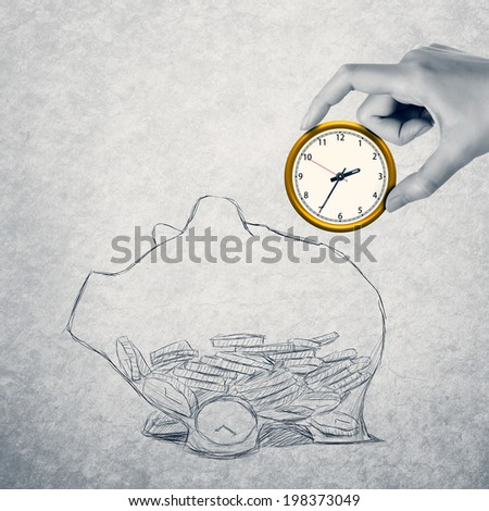 Save your money, concept of time or financial management. - stock photo