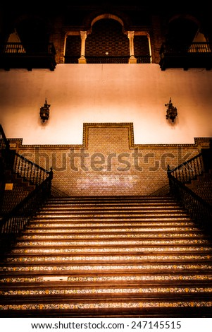 Saville, Spain. Old Spanish Renaissance Revival staircase made of marble and wood. - stock photo