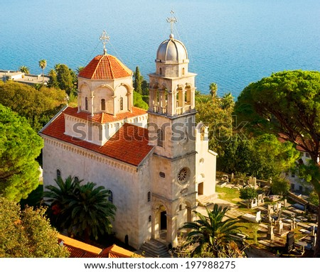 Savina Monastery  is a Serb Orthodox monastery near the city Herceg Novi, Montenegro - stock photo