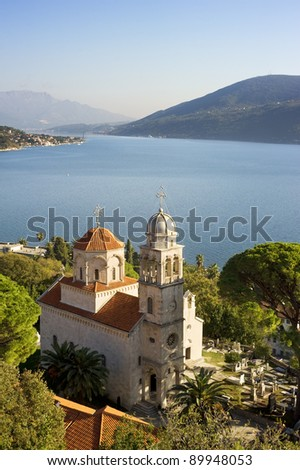 Savina Monastery  is a Serb Orthodox monastery near the city Herceg Novi, Montenegro. Probably comes from the 1030 year, although the oldest record in which the monastery mentioned in 1648. - stock photo