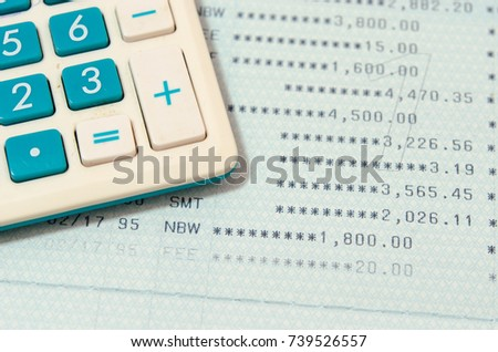 Saving Account Book Bankbusiness Finance Calculator Stock Photo
