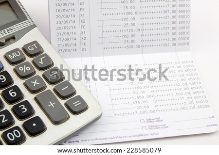 saving account passbook, Book bank statement - stock photo