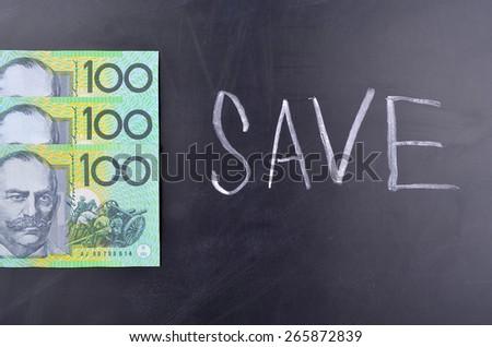Saving Australian Dollars - stock photo
