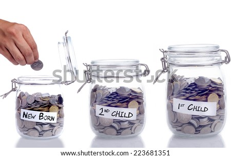 Saving concept for first child, second child and new born: Conceptual by three jar coin - stock photo
