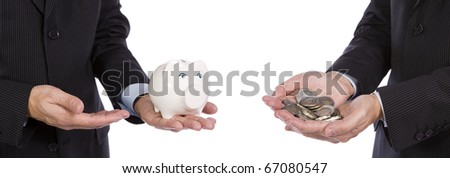 Saving concept - Two Business men showing their savings - stock photo