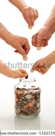 Saving concept with hands of different generations putting coins in a jar - vertical banner - stock photo