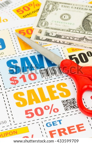 Saving discount coupon voucher with scissor and dollar banknote, coupons are mock-up
