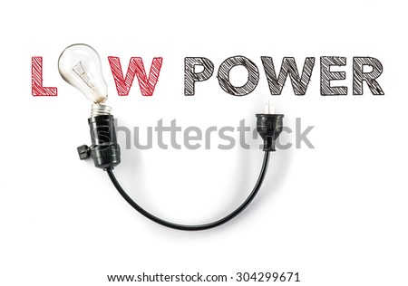 saving energy, low power light bulb caring for the Earth, hand writing - stock photo
