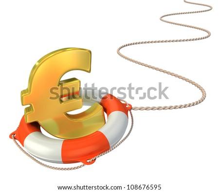 saving euro 3d concept - stock photo