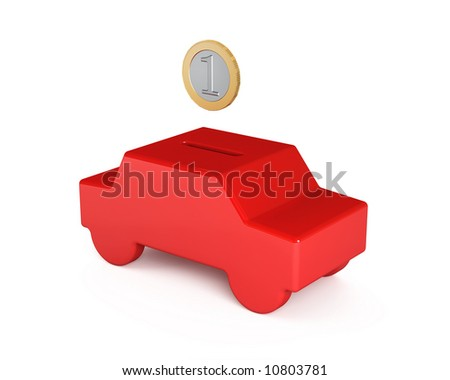 Saving for a car (red car piggy bank and coin)