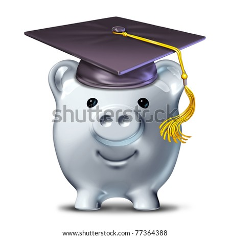 Saving for an education represented by a graduation school mortar board and a savings piggy bank. - stock photo