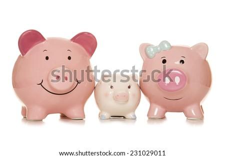 saving for the future piggybanks cutout - stock photo