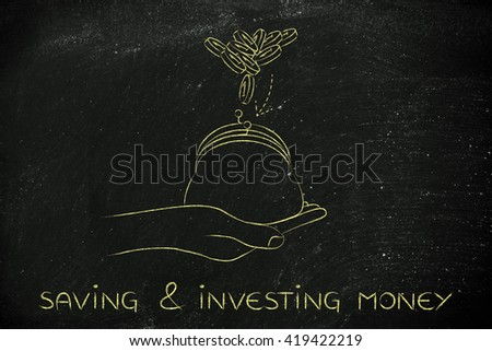 saving & investing money: hand holding purse with coins dropped into it - stock photo