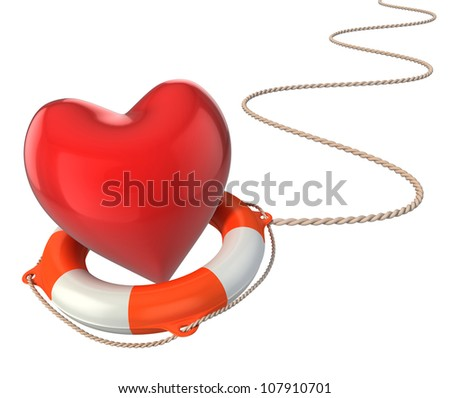 saving love marriage relationship 3d concept - heart on lifebuoy - stock photo