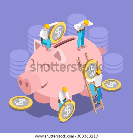 Saving Money Concept. Interacting People Unique IsometricRealistic Poses. NEW lively palette 3D Flat  Illustration Hard Hat Mini People Set Put in Coins to Piggy Bank - stock photo