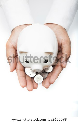 Saving money concept. Piggy bank. - stock photo