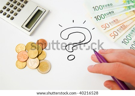Saving money concept: question mark, calculator, hand holding marker, euro banknotes and cents - stock photo