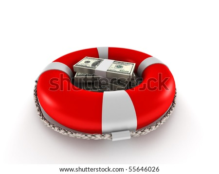 Saving money. Dollar bills in lifebuoy isolated on white background. High quality 3d render. - stock photo