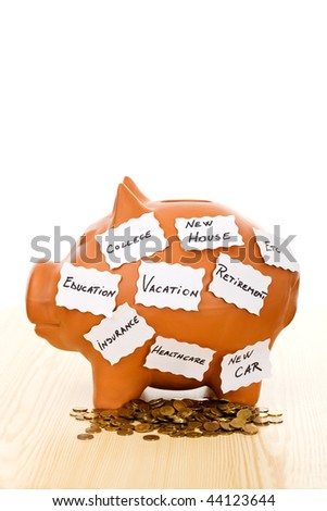 Saving money for a goal - money concept, isolated - stock photo