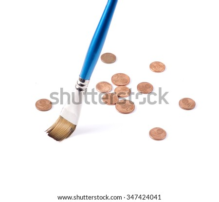 Saving money for you. Sweeping coins - stock photo