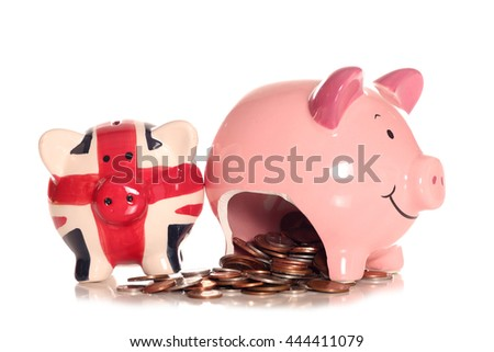Saving money in a piggybank cutout