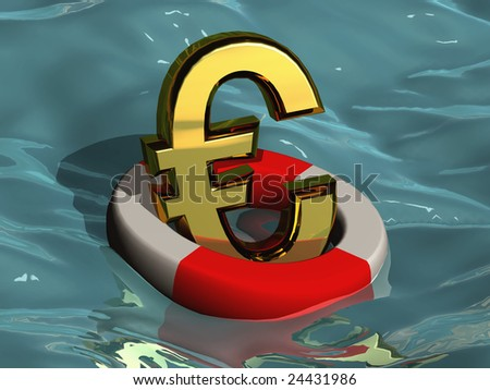 Saving the Euro A golden euro floating in the ocean in a life saver. - stock photo